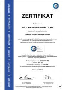 Zertifikat Entsorgungsfachbetrieb - Neudeck GmbH & Co. KG